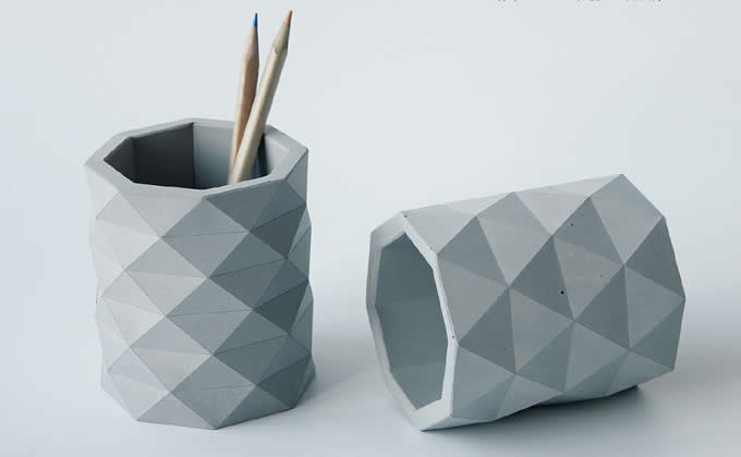 Concrete Desk Pen Pencil Holder Desk Stationery Organizer