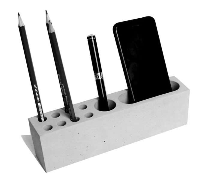 Concrete Desktop Stationery Organizer Storage Cell Phone Holder