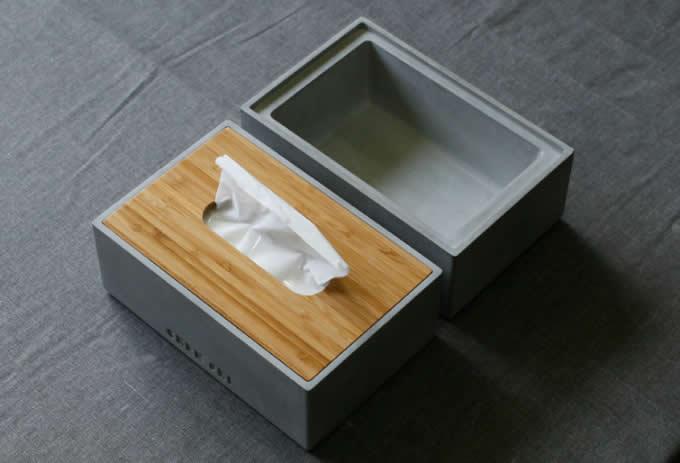 Concrete Tissue Box Storage Box Desk Organizer