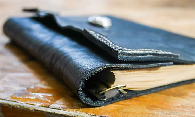 Handmade Genuine Leather Refillable Binder Diary Travel Journal Notebook,Black & Brown
