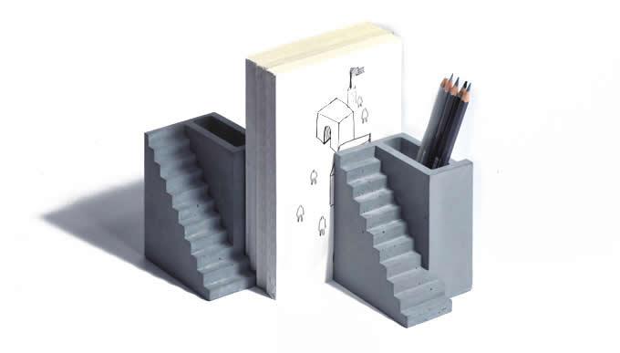 Modern Concrete Bookend Pen Holder