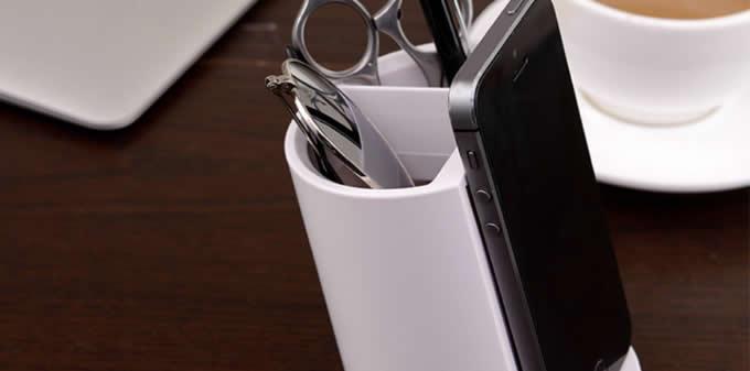 Plastic Pen Holder with Phone Holder Desk Organizer Mobile Bracket Stand Storage