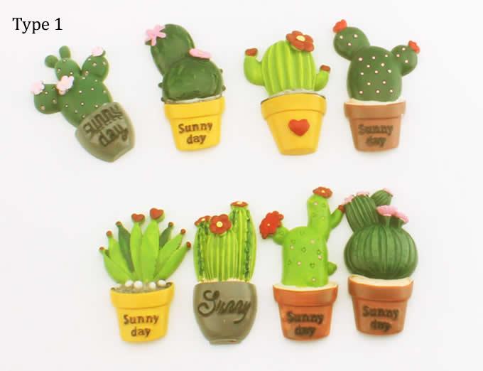 Set of 8  Cactus Shaped Push Pins