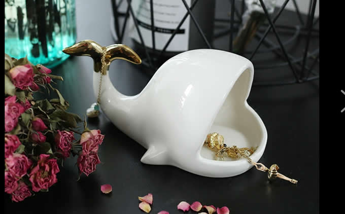 Whale Jewelry Holder Trinket Tray Ring Dish for Earring Bracelet Key Necklace Wedding Gift Home Decor