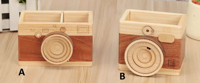 Wooden Camera Shaped Pen Holder