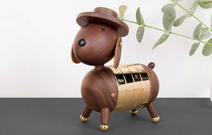 Wooden Dog Shaped Perpetual Calendar