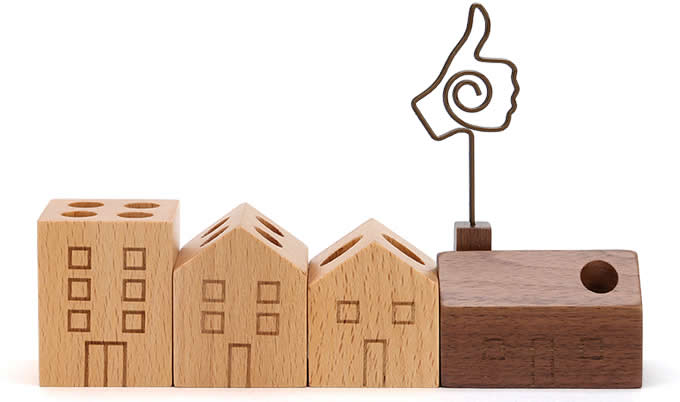 Wooden House Shaped Pen Pencil Holder Stand 4 Piece Set
