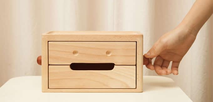 Wooden Robot 2 Drawer Storage Organizer Feelgift