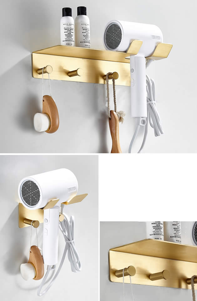 Classic Golden Brass Wall Storage Rack Bathroom Suction Hair Dryer Copper Hook Up