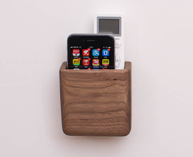Creative wooden wall-mounted remote control-phone storage box