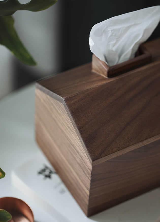 Brief Stylish Pastoral Small House Wooden Tissue Box Black Walnut Beech Wood