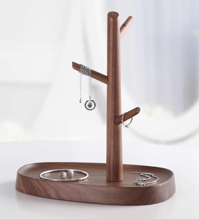 Black Walnut Wood Tree  Jewelry Rack Necklace Bracelet Rings Earring Holder