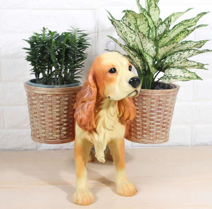 Cute Dog Resin Flower Plant Pot Succulent Planter Vase