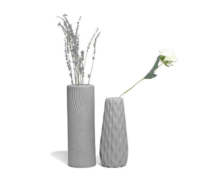Handmade Concrete Fluted Vase