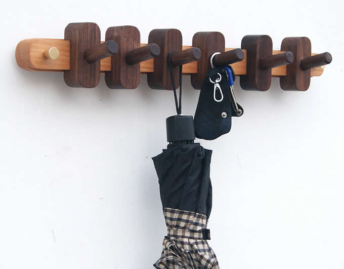 Solid Wood Wooden Coat Hook Coat Rack Wall Mount Clothes Hook