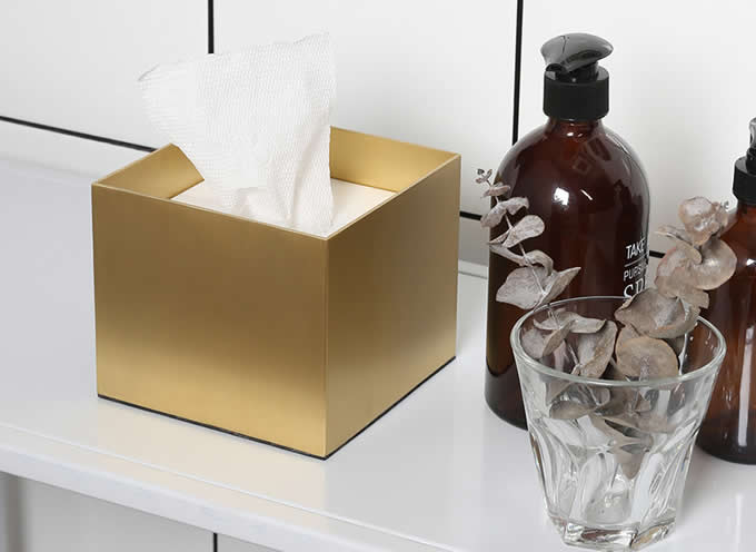 Brass Facial Tissue Box Cover Holder with Marble Cover