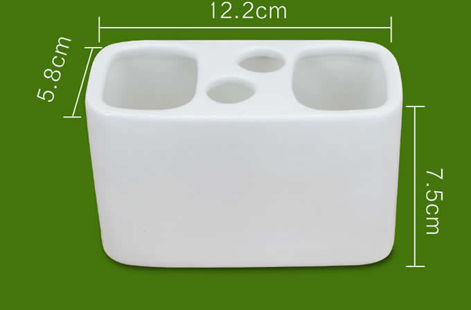 White Ceramic Toothbrush and Toothpaste Holder For Bathroom