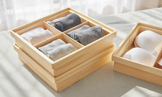 Bamboo Drawer Dividers, Storage Boxes, Closet Organizers, Under Bed Organizer
