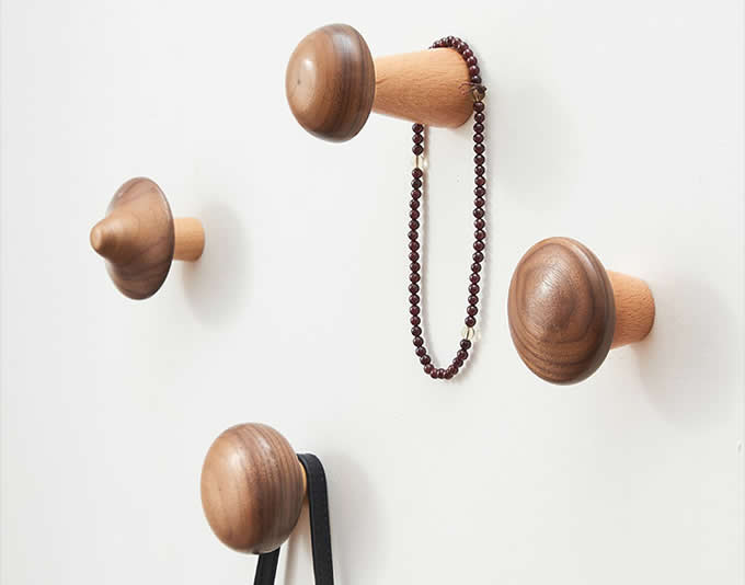 Wooden Mushroom Shaped Decorative Wall Hook