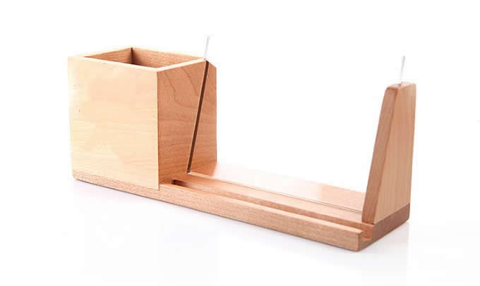 Bamboo Wooden Office Desk Organizer Pen and Pencil Holder , Phone and Tablet Holder
