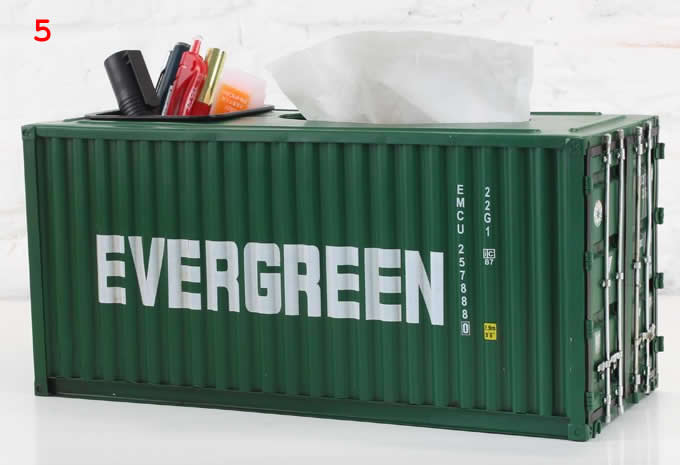 Shipping Container Model Desk Office Supplies Organizer,Tissue Box(Green)
