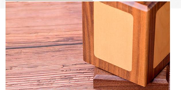 Classic 360-degree rotating black walnut wooden square organize pen holder