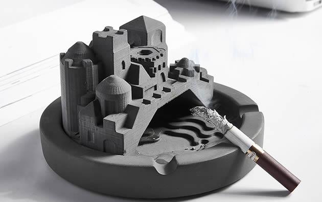 Classic industrial style concrete castle building ashtray