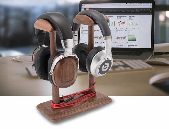 Creative Double Support Black Walnut Wooden Headphone Holder Desktop Organization