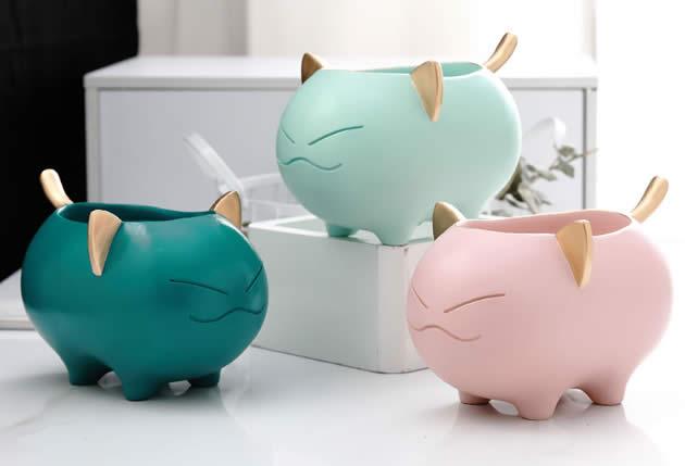 Cute Cartoon Cat Desktop Organize Decoration Storage Box