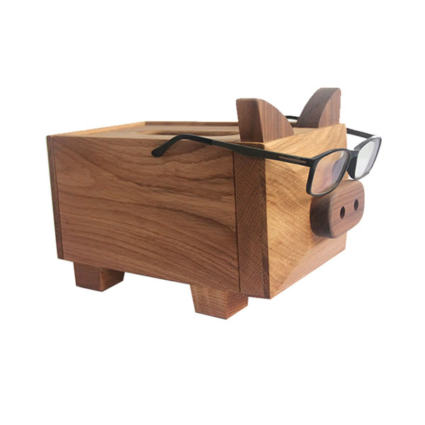Fun wooden pig tissue box Home office desk decorations