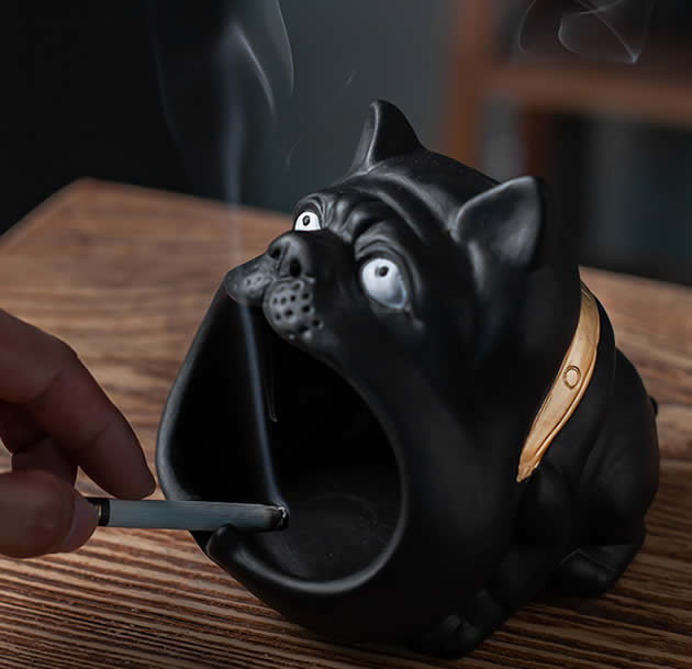 Funny Big Mouth Bulldog Ceramic Ashtray