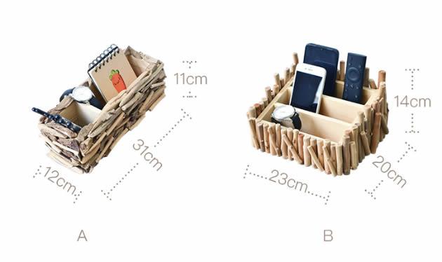 Retro Stitching Wooden Office Desktop Organize Phone Remote Control Storage Box