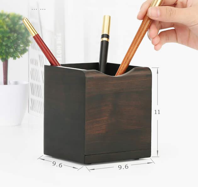 Retro Wooden Square Pen Holder With Phone Holder
