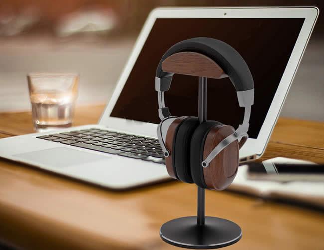 Simple Wooden Aluminum Alloy Combined With Desktop Headphones Storage Holder