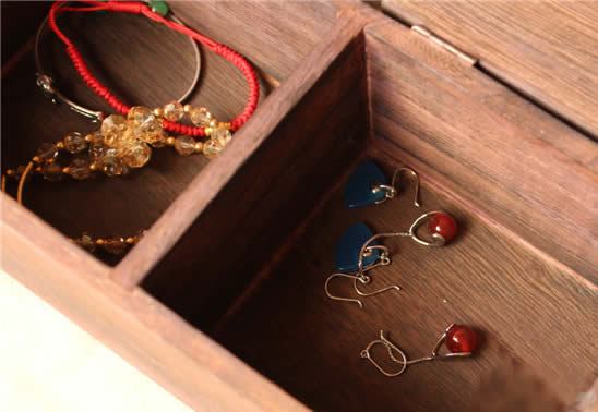 Vintage Paulownia Wooden Tabletop Jewelry Small Item Organize Storage Box
