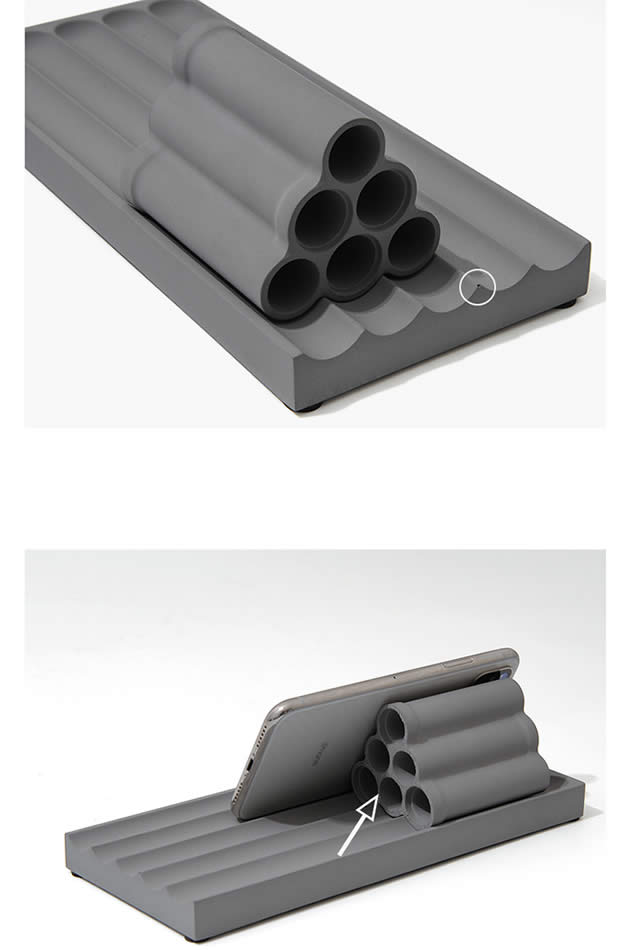 Multifunctional Simple Concrete Phone Holder Cylindrical Cement Pen Holder