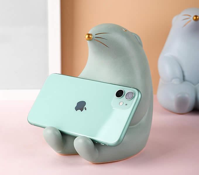 Cute Cartoon Groundhog Ceramic Phone Holder With Piggy Bank Function