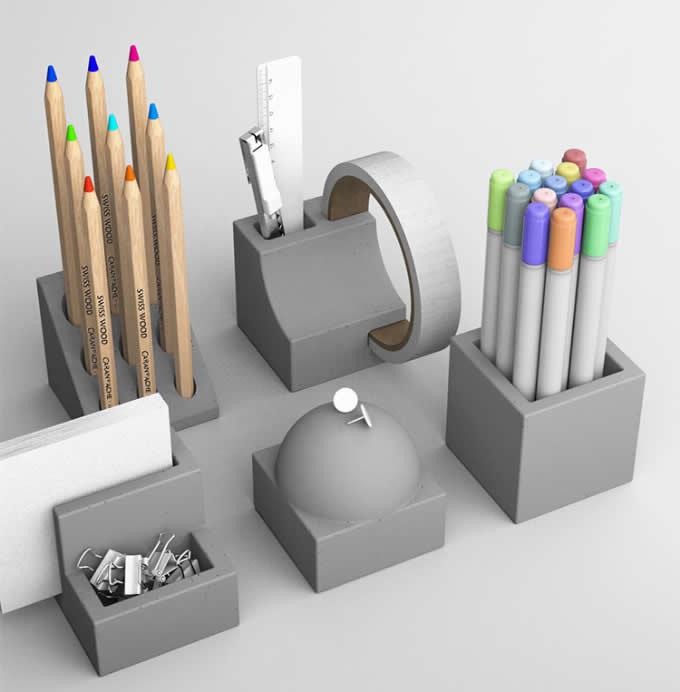 5pcs Concrete Stationery Bundle Set-  Pen Holder, Business Card Holder,Flower Pot,Paperclip holder