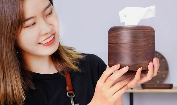 Black Walnut Handmade Wood Round Tissue Box Cover Holder