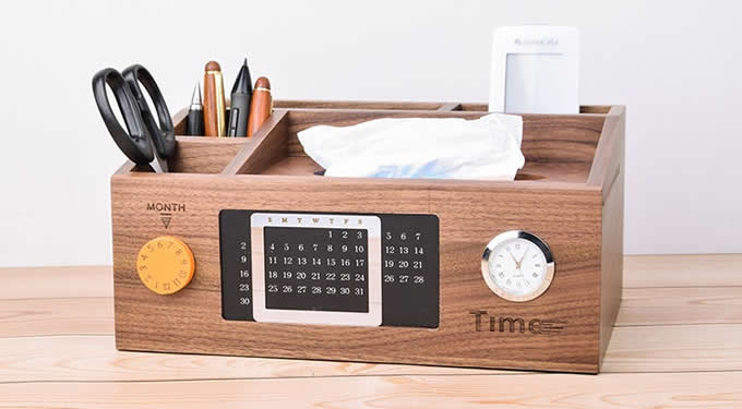 Bamboo Wood Multi-Function Desktop Tissue Box Cover Perpetual calendar Remote Control Holder Storage Box