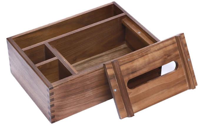 Black Walnut wood Multi-Function Tissue Box Cover Desktop Remote Control Holder Storage Box