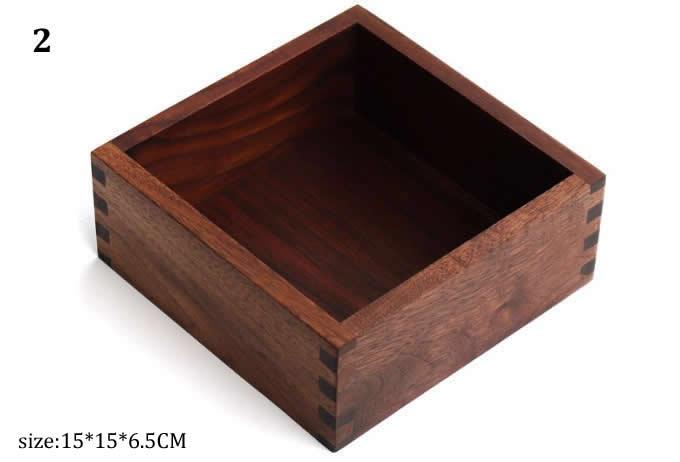 Black walnut Wood Drawer Storage Organizer Box