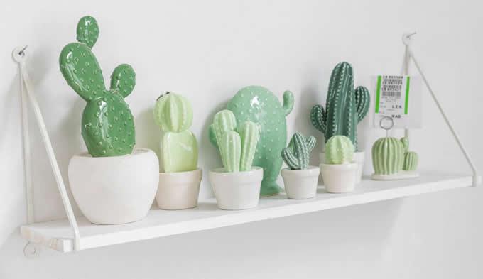 Ceramic Cactus Figurine On Pot Feelgift