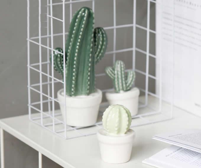 Ceramic Cactus Figurine on Pot