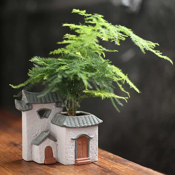Ceramic House Style Flower Pot Garden Plant Holder Planter Home Decor