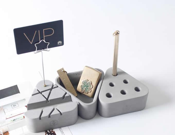 3pcs Concrete Office Desk Organizer Set - Phone Stand / Pencil Holder / Business Card Holder