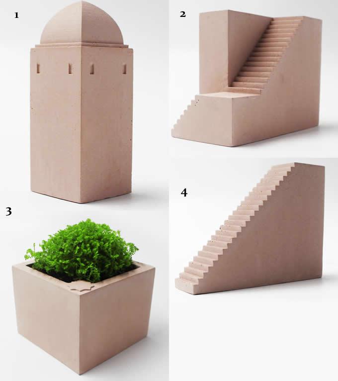 Concrete Wooden Castle Decorative Succulent Planter Flower Pot