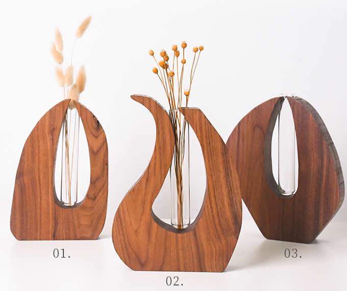 Crystal Glass Test Tube Vase In Wooden Stand Flower Pot