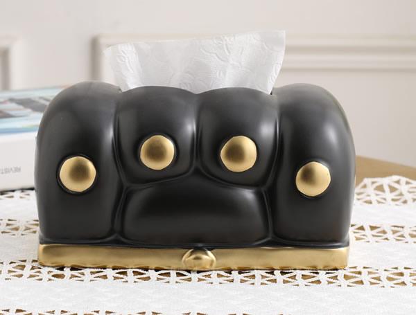 Cute cartoon cat paw modern art black ceramic tissue box