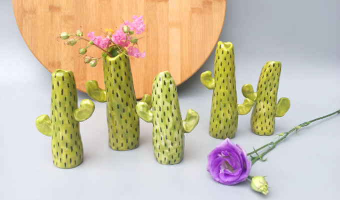 Handmade Cactus Model Ceramic Decorator Vase